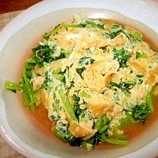 間引き大根葉と油揚げの味噌煮卵とじ