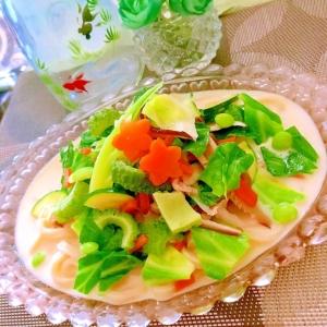 夏野菜どっさり冷やし豆乳ちゃんぽん