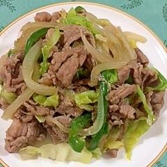 ラム肉に、にんにくも入れて、野菜の炒め物