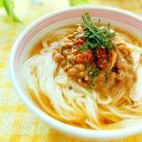 サッパリ食べたい♪納豆キムチのぶっかけ素麺