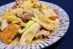 ご飯が進む♪豚肉とキャベツと厚揚げのピリ辛味噌炒め