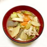 圧力鍋で手抜時短!具10種根菜たっぷり厚揚げ豚汁♡