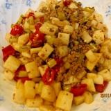 大根、赤唐辛子の漬け物と豚挽肉の炒め