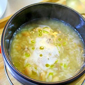 大豆スープの雑炊