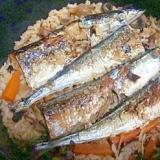 秋刀魚ときのこの炊き込みごはん