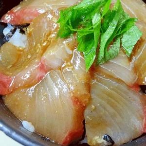 晩酌の〆☆ 「ヒラマサのヅケ丼」