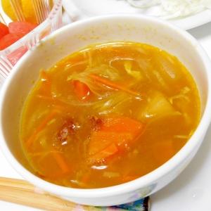カレーの残りでスープ