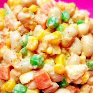 受験生に!豆とミックスベジタブルのエスニックサラダ