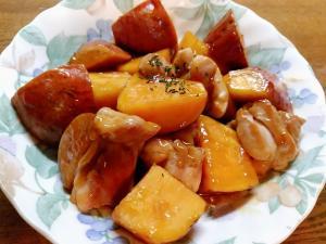 薩摩芋ともも肉の甘酢炒め