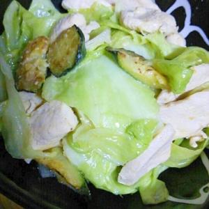 鶏肉とズッキーニとキャベツの味噌マヨ炒め