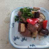 甜麺醤でコロコロ野菜と肉炒め