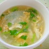 大根とカブの葉のトロトロ卵スープ