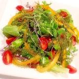 【華やかサラダ♪】サラダセロリと海ブドウのサラダ
