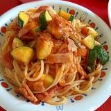 ズッキーニとベーコンのトマトスパゲッティー
