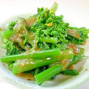 旬菜「かき菜」の甘味噌胡麻ダレ掛け