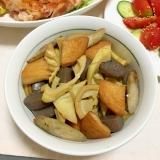 淡竹と丸天こんにゃく新ごぼうの麺つゆごった煮♡