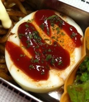 お弁当!ゆで卵のケチャップ焼き☆