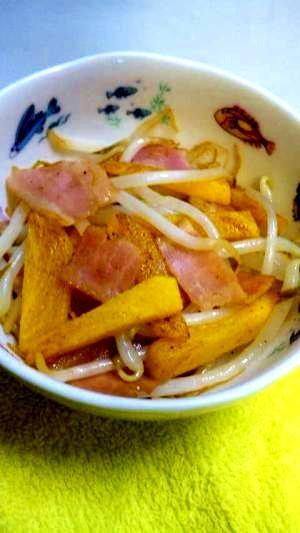 次郎柿ともやしのベーコン炒め