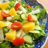 安くデリ風❤オレンジ&ミニトマトのサラダ♪