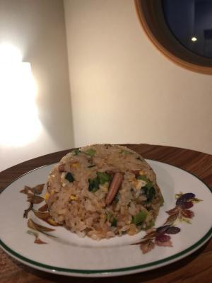 イカの塩辛と小松菜のチャーハン