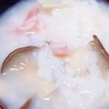 エリンギとベーコンの中華粥