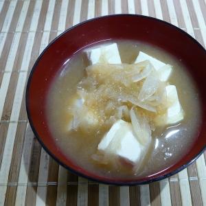 玉ねぎたっぷり豆腐の味噌汁