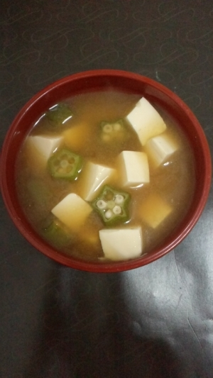 オクラと豆腐のお味噌汁