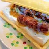 金柑ジャムと黒糖かりんとうとあおさのモナ王サンド