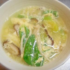チンゲン菜ときのこの卵スープ