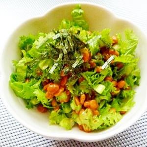 わさび菜と納豆のわさび和え