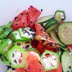 オクラときゅうりとトマトのごま和え