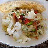 キャベツとしめじと枝豆のパセリホットサラダ