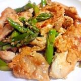 鶏胸肉のピカタとアスパラの炒め物