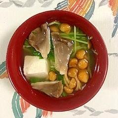 豆苗、木綿豆腐、なめこ、あわび茸のお味噌汁