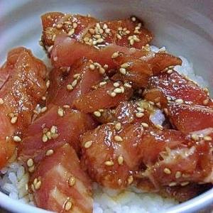 秋が旬 鮭ハラミの漬け丼