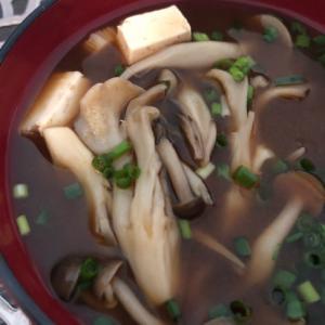きのこを食べる味噌汁