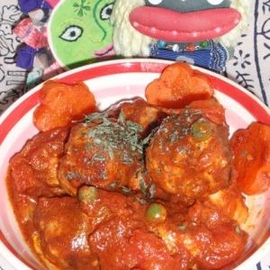 里芋巻き塩麹豚のトマト煮