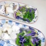 紫キャベツとほうれん草鱈の麺つゆ煮