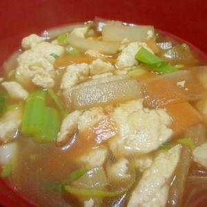 だいこんの葉入り♪炒り豆腐の汁