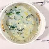 茄子、白菜の豆乳スープ