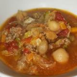 圧力鍋で時短★大豆とひき肉の具だくさんトマトスープ