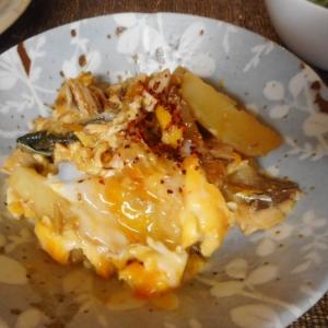 サバとジャガ芋の味噌卵とじ