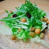 ミックスビーンズとレタスと水菜のサラダ