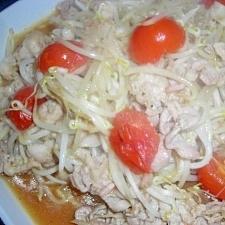塩麹豚肉ともやし、トマト炒め
