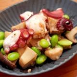 簡単おつまみ!タコとエリンギ、枝豆のガリバタ炒め