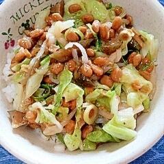 納豆の食べ方-キャベツ&漬物♪