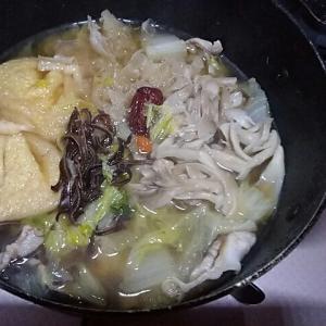 薬膳と餅入り巾着と豚帆立の白菜の鍋