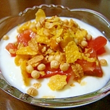 トマト&グラノーラのヘルシー朝食ヨーグルト♪