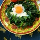 朝食にも♪簡単!ほうれん草の巣ごもり卵