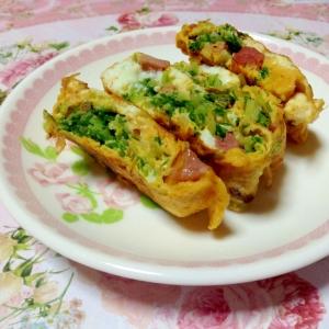 お弁当に♪水菜とハムの卵焼き